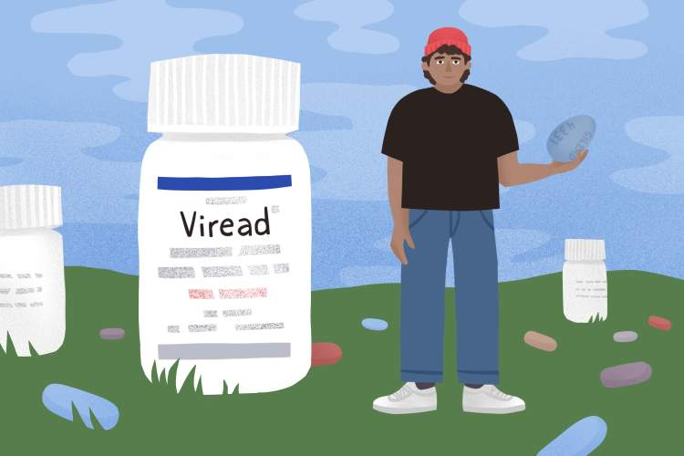 illustration of larger-than-life Viread bottle alongside a person holding a massive Viread pill