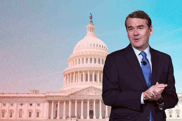 Sen. Michael Bennet superimposed over capitol building