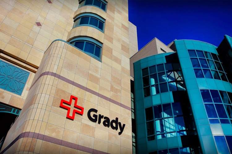 The main entrance to Grady Health System in downtown Atlanta, Georgia