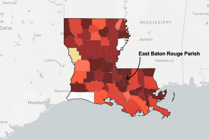 Map of Louisiana pointing out East Baton Rouge Parish
