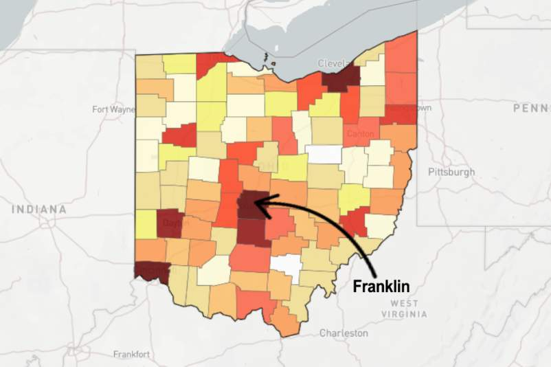 Map of Franklin county Ohio