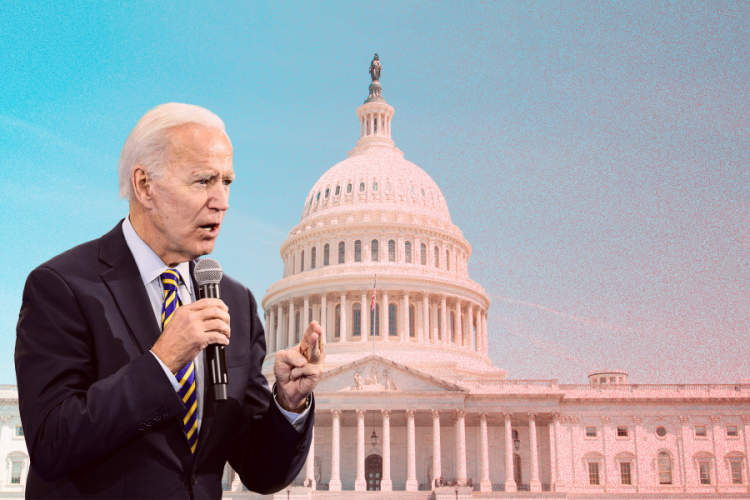 Joe Biden superimposed over Capitol building