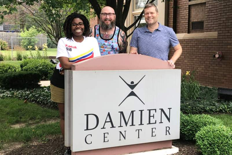 Damien Center staffers left to right: Maxine Wallace, Intensive Housing Coordinator, Devon Martin, Care Coordinator, Alan Witchey, President and CEO