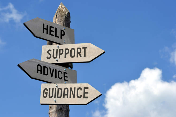 Help, support, advice, guidance signpost