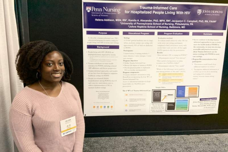 "Helena Addison, M.S.N., R.N., presenting ""Trauma-Informed Care for Hospitalized People Living With HIV,"" at the 2019 Association of Nurses in AIDS Care conference (ANAC 2019) in Portland, Oregon."