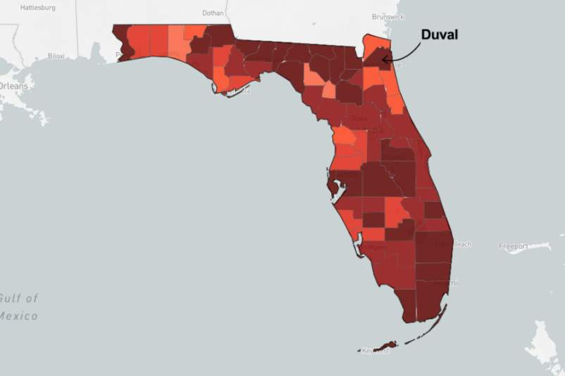 map of Florida pointing out Duval county