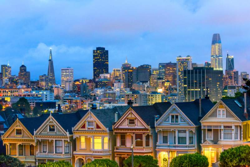 Painted Ladies Houses in San Francisco in evening