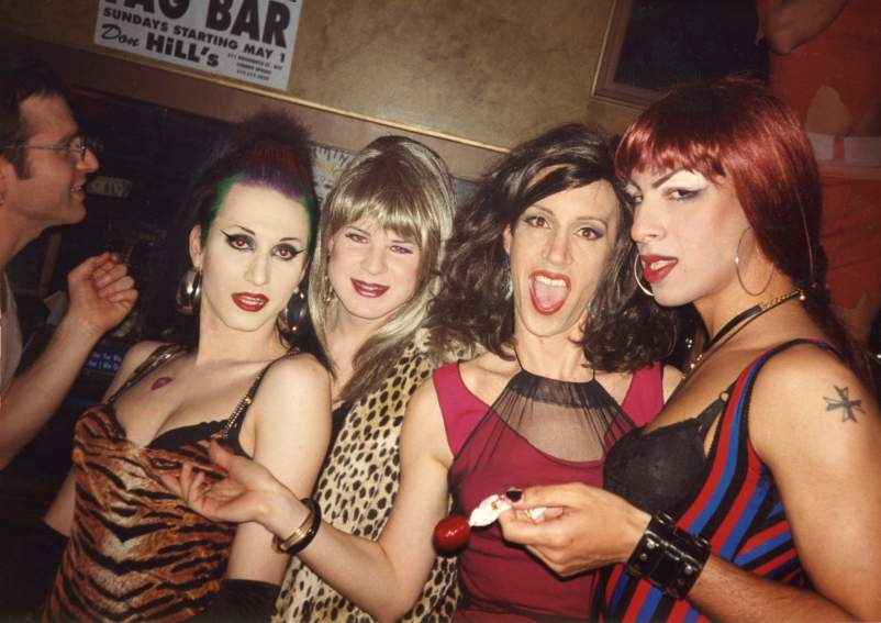 Misstress Formika, Randella, Simpson, and Dolores at the queer rock 'n' roll party Squeezebox in 1994