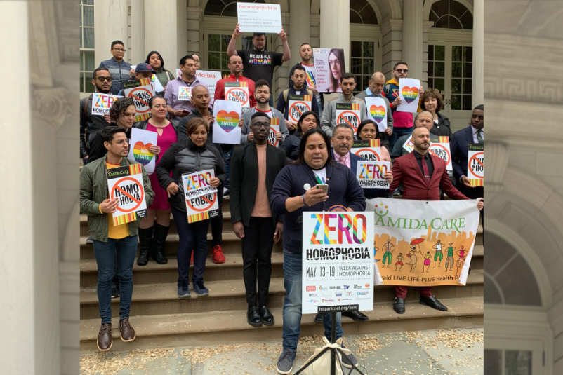 "The kick-off rally for ""The Week Against Homophobia"" at City Hall, NYC, May 2019"