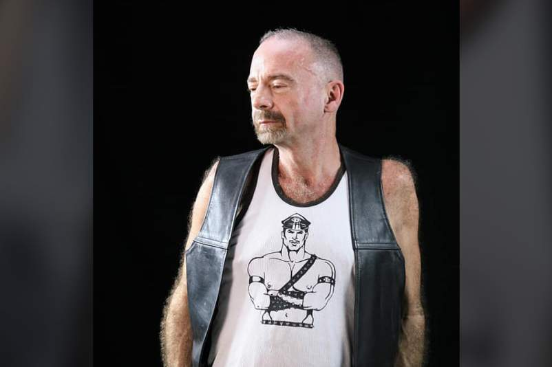Timothy Ray Brown in a leather vest