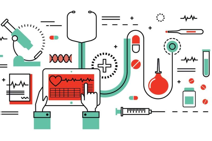 concept illustration: medicine, healthcare, health control, medical equipment