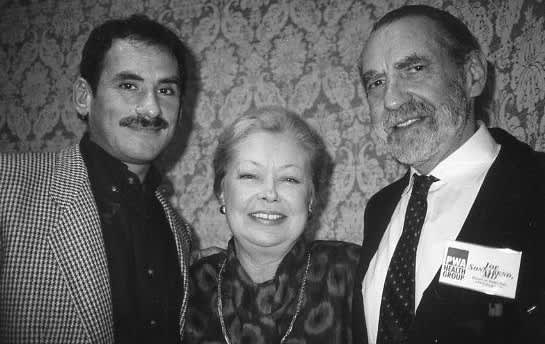 Sonnabend (right) with Richard Berkowitz and amfAR cofounder Dr. Mathilde Krim in 1993.