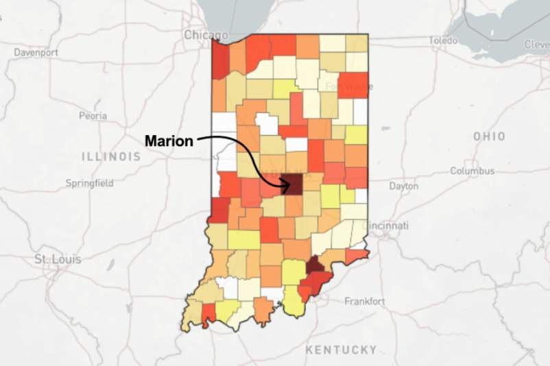 Map of Indiana with arrow pointing to Marion county