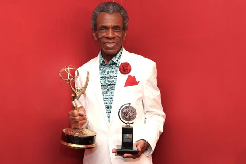 André De Shields holding his Tony and Emmy awards