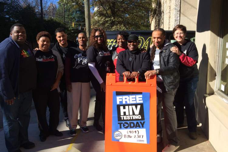 An HIV testing event with Melanie Thompson alongside staff from the AIDS Research Consoritum of Atlanta (ARCA) and Fulton County, Georgia, HIV prevention workers