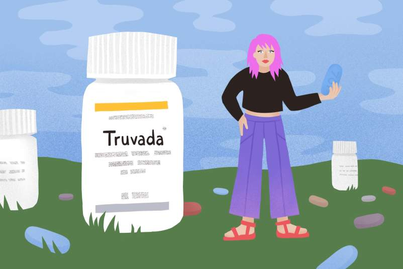 illustration of larger-than-life Truvada bottle alongside a person holding a massive Truvada pill
