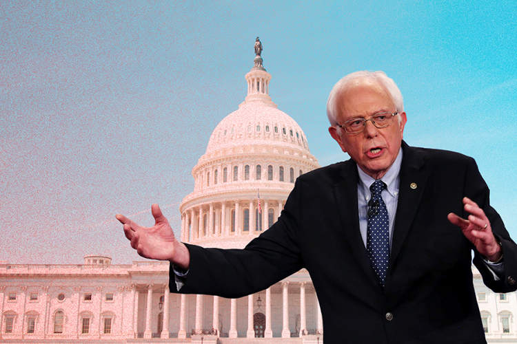 Bernie Sanders superimposed over Capitol building
