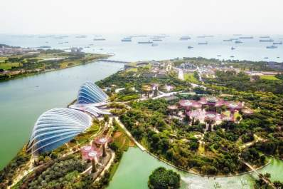 Cityscape of Singapore city, aerial view to Supertree Grove, Cloud Forest and Flower Dome in Gardens by the bay during the day
