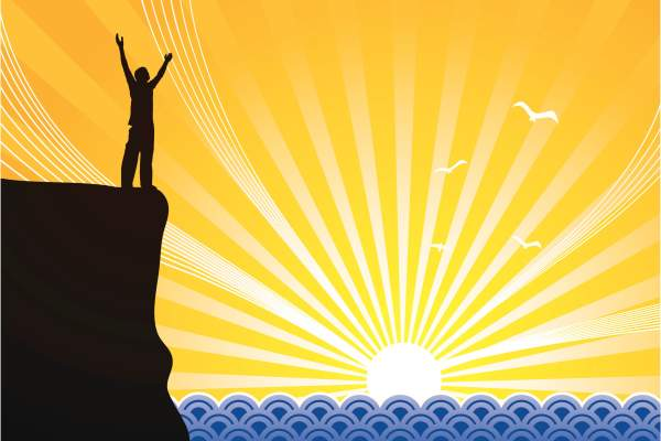 illustration of person on cliff with arms raised as sun rises/sets over ocean
