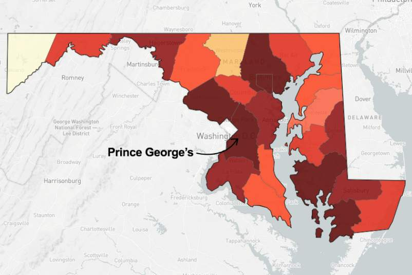 map of Maryland pointing out Prince George's County