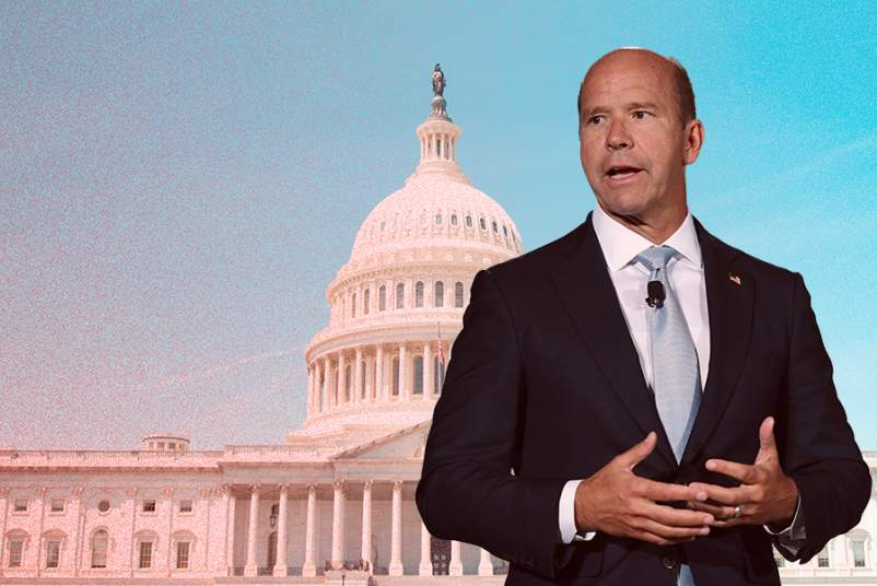 John Delaney superimposed over Capitol building