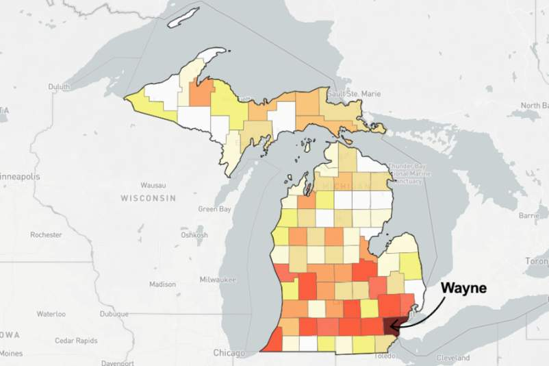 Map of Michigan with Wayne County pointed out