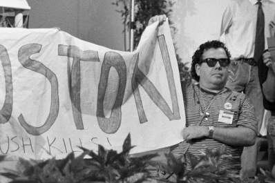 Andy Velez at the 1991 International AIDS Conference in Florence, Italy, protesting a U.S. policy that had barred the entry of people living with HIV