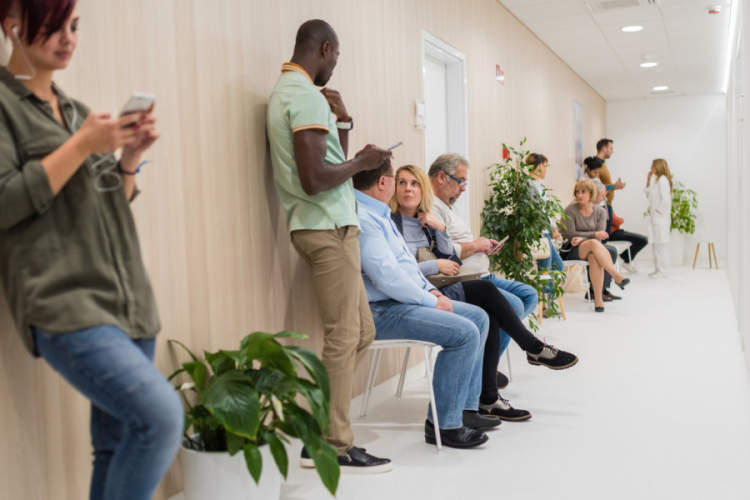 people in a doctor's office waiting room