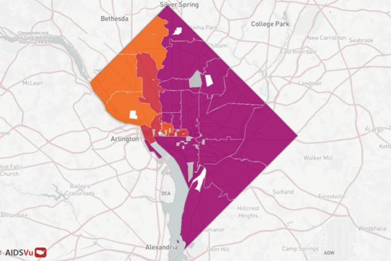 Map of Washington D.C. with HIV statistics
