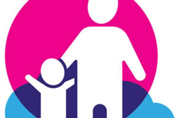 illustration/icon of parent standing with child