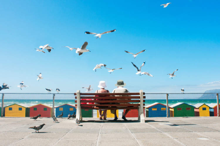 couple on the boardwalk surrounded by seagulls