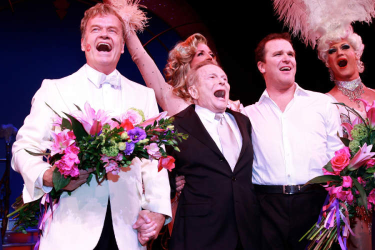"(L-R) Kelsey Grammer, Jerry Herman, and Douglas Hodges at the curtain call for the opening of ""La Cage Aux Folles"" on Broadway at the Longacre Theatre on April 18, 2010 in New York City."