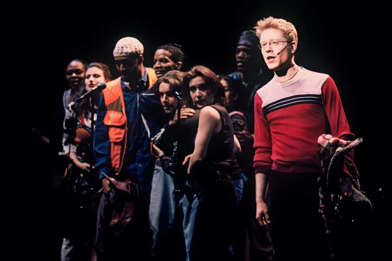 Anthony Rapp and the cast of RENT at New York Theatre Workshop. Photo by Joan Marcus