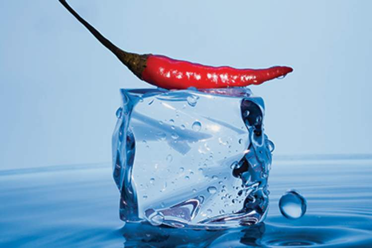 chili on ice cube