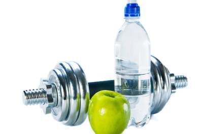 water, dumbell and apple