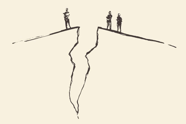 Figures looking down a chasm
