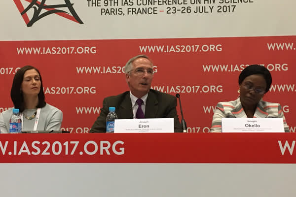 Joseph Eron, Jr., M.D., presents 96-week study data from LATTE-2, at IAS 2017 (Credit: Warren Tong)