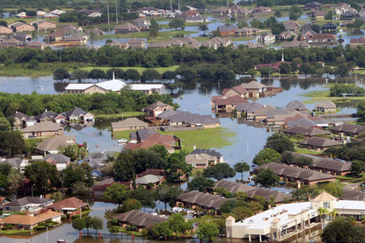 An aerial view of areas affected by Hurricane Harvey in Beaumont, Tex.