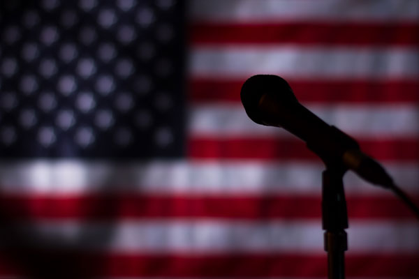 Microphone and American flag
