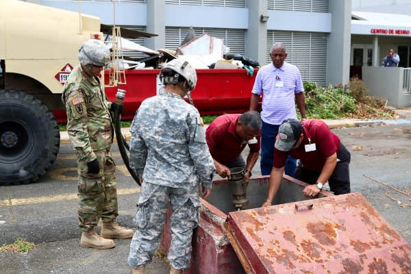 Puerto Rico National Guard Soldiers supply HIMA San Pablo Hospital in Bayamon with diesel
