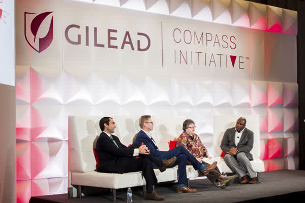 Gilead COMPASS Initiative panel discussion participants (L-R): Dr. Michael Mugavero (UAB School of Public Health), Nic Carlisle (Southern AIDS Coalition) and Kathie Hiers (AIDS Alabama) with moderator Douglas Brooks (Gilead Sciences) at The Harbert Center