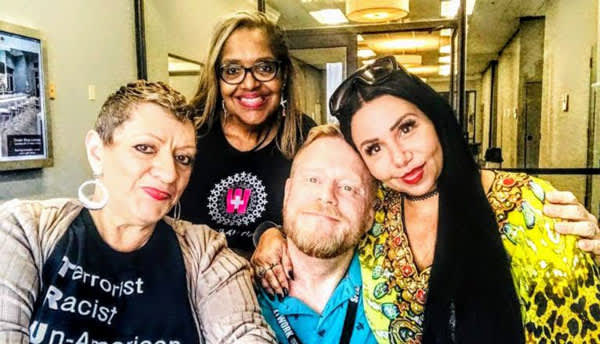 Mark S. King feels the love at the PWN summit with activism heroes Lillibeth Gonzalez, Lepena Reid, and Maria Mejia