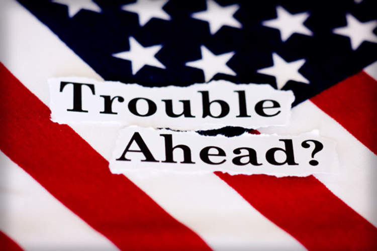 'Trouble Ahead?' and American flag