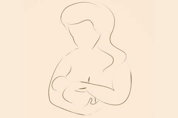 breastfeeding line art