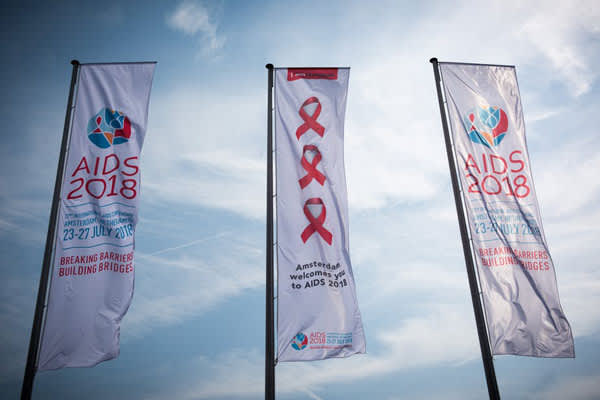 AIDS 2018 conference flags