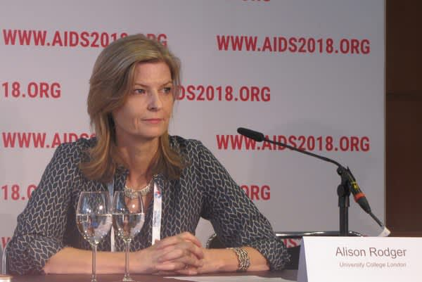 Alison Rodger discusses PARTNER2 study findings during a press conference at AIDS 2018