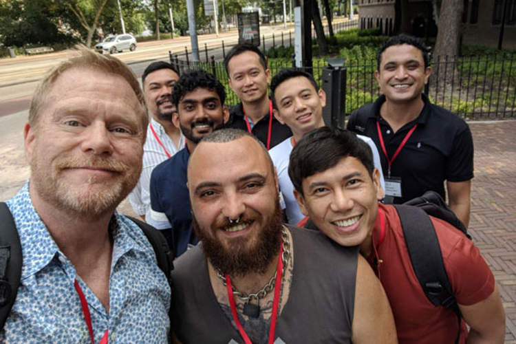 Mark S. King and AIDS 2018 attendees