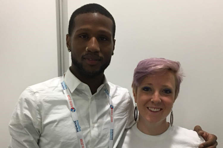 Jason Walker and Emily Sanderson at AIDS 2018 in Amsterdam, the Netherlands (Credit: Terri Wilder)