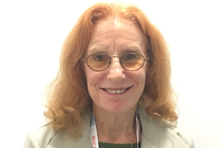 Lynne Mofenson, M.D., at AIDS 2018 in Amsterdam, the Netherlands (Credit: Terri Wilder)