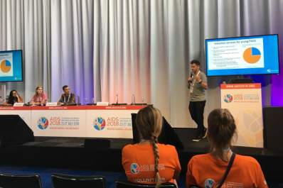 Panelists of 'Bridging the Drug Stigma' at AIDS 2018 in Amsterdam, the Netherlands